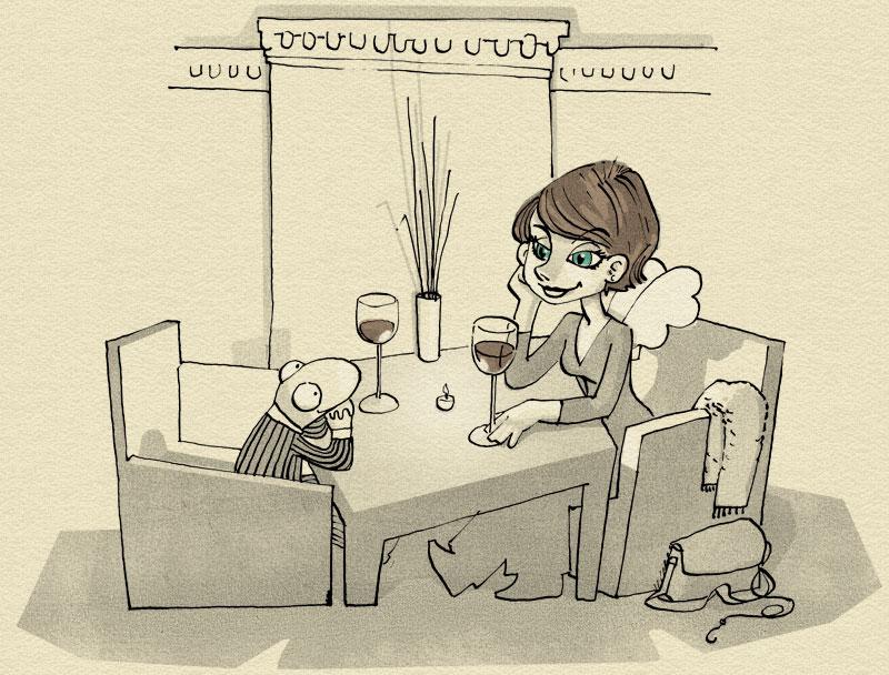 Julia und Frosch beim Candlelight-Dinner